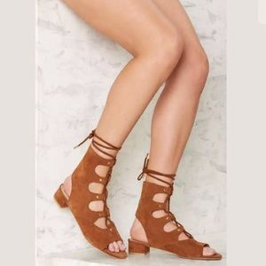Nasty Gal E8 By MIISTA MARLEY SUEDE LACE UP SANDAL